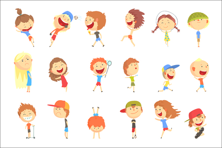 Small Kids Playing And Running, Having Fun On Summer Vacation Outdoors Set Of Cool Cartoon Characters. Happy Childhood Vector Illustration Collection With Positive Smiling Children In Summer Clothes. Illustration