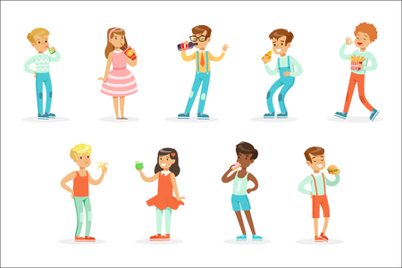Kids Eating Snack Food And Drinking Soft Drinks Set Of Cartoon Characters Enjoying Their Meal Standing. Cute Children And Meals They Eat Vector Illustrations In Childish Colorful Style.
