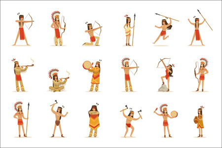 Native American Tribe Members In Traditional Indian Clothing With Weapons And Other Cultural Objects Set Of Cartoon Characters Illustration