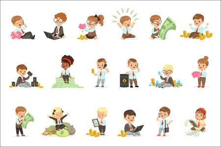 Kinder im Finanzgeschäft Reihe von niedlichen Jungen und Mädchen, die als Geschäftsmann arbeiten, der sich mit großem Geld beschäftigt. Kinder und Finanzen Vektor-Illustrationen mit entzückenden Zeichentrickfiguren im Büro Kleiderordnung Kleidung. Vektorgrafik