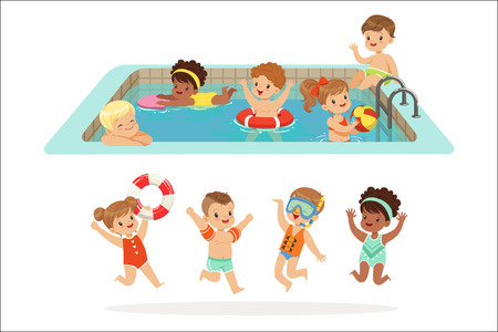 Small Children Having Fun In Water Of The Pool With Floats And Inflatable Toys In Colorful Swimsuit Set Of Happy Cute Cartoon Characters. Children Playing In And Swimming In Fresh Water Enjoying Summer Vector Illustrations.