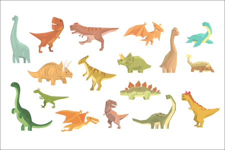 Dinosaurs Of Jurassic Period Set Of Prehistoric Extinct Giant Reptiles Cartoon Realistic Animals. Illustration