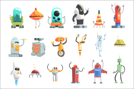 Different Design Public Service Robots Set Of Colorful Cartoon Androids Isolated Drawings Banque d'images - 107231777