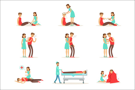 Woman Following Firs Aid Primary And Secondary Emergency Treatment Procedures Collection Of Infographic Illustrations. Rescue And Problem Management Situations Set Of Cartoon Drawings.