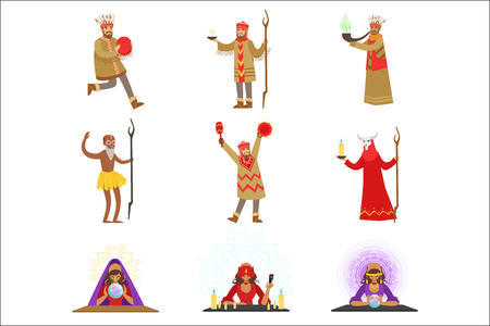 Different Cultures Shamans And Gypsy Fortune-Tellers Set Of Cartoon Characters Performing Occult Rituals. Religious People Predicting Future And Practicing Shamanism Series Of Illustrations. Çizim