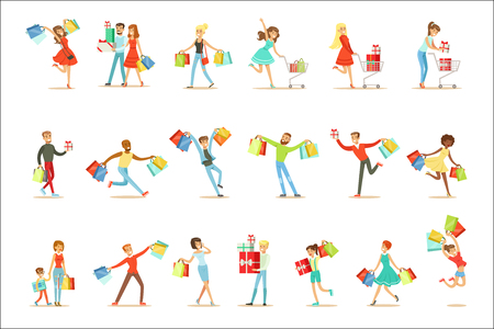 Shopaholic People Happy And Excited Running With Paper Shopping Bags Smiling Carton Characters Collection. Vector Illustrations With Man And Women Addicted To Shopping. 일러스트