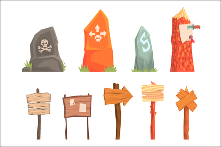 Pointers, Direction Plates And Mortal Danger Indicators Set Of Video Game Template Elements. Cartoon Wooden And Rock Arrows And Signs Directing Somewhere Vector Illustrations For Flash Game Design.