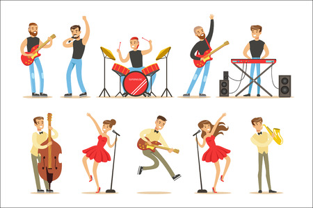 Artists Playing Music Instruments And Singing On Stage Concert Series Of Musicians Cartoon Vector Characters. Young People Musical Band Performing On Show Illustrations. Imagens - 111597639