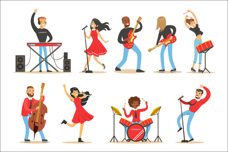 Artists Playing Music Instruments And Singing On Stage Concert Set Of Musicians Cartoon Vector Characters. Young People Musical Band Performing On Show Illustrations.