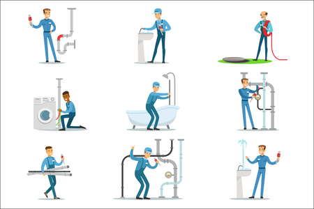 Plumber And Water Supply Plumbing Specialist At Work Doing Repairs Set Of Cartoon Character Scenes. Vector Illustration With Happy Sanitation Professional Fixing Broken Pipes With Special Tools 矢量图像