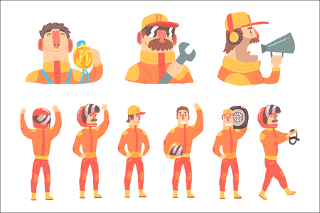 Racing Team Members In Orange Uniform Including Driver and Pit Stop Technicians Team Set of Cartoon Characters. Sportive Group Of Racer Support On Formula One Racing Competition Vector Illustration.