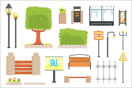 Cityscape Constructor Elements Set In Cute Cartoon Geometric Design, Town Landscape Design Templates. Isolated Objects For City Outdoors Collection Of Vector Clipart Icons. Stock Illustratie