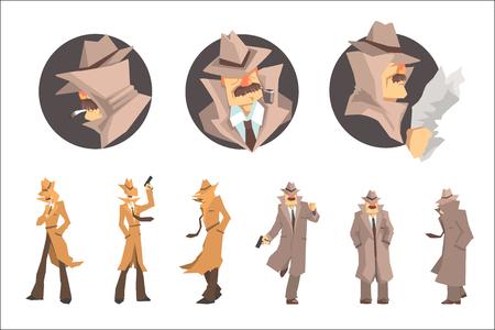 Politiedetective en privédetective op het werk die misdaden onderzoeken en oplossen Set van undercover portretten. Professionele speurder in lange jas en hoed stripfiguur op zoek naar aanwijzingen.