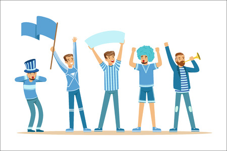 Two Groups Of Football Sports Fans Supporting Teams In Red And Blue Outfits Shouting And Cheering At The Stadium. People Sportive Devotees Making Noise Vector Illustrations With Smiling Cartoon Characters.