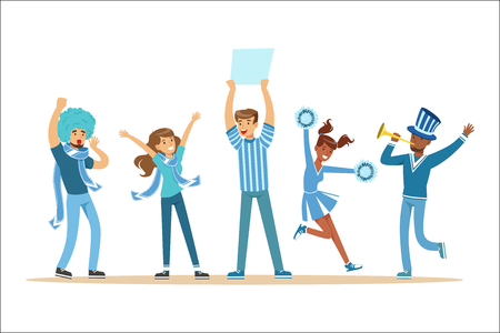 Deux groupes de fans de sports de football soutenant des équipes en tenues rouges et bleues criant et applaudissant au stade. Personnes dévots sportifs faisant des illustrations vectorielles de bruit avec des personnages de dessins animés souriants.