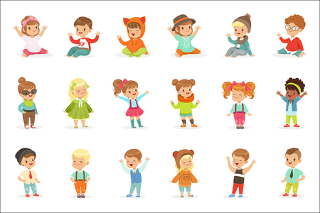 Young Children Dressed In Cute Kids Fashion Clothes, Series Of Illustrations With Kids And Style. Small Boys And Girls Stylishly Dressed Set Of Adorable Cartoon Characters. Illustration