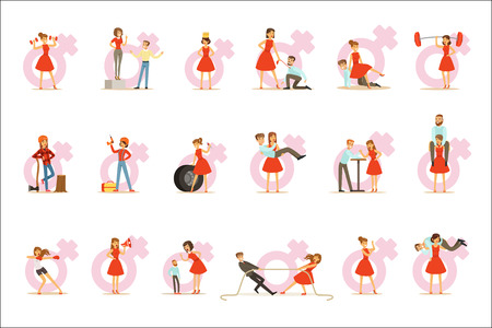Woman In Red Dress Taking On Traditional Male Roles And Exchanging Places With Man, Series Of Feminism Illustration And Female Power. Feminist Girl Cartoon Characters Dominating Over Male Collection Of Cartoon Drawings. Illustration
