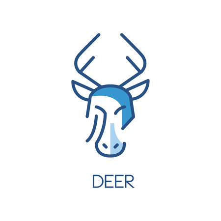 Deer design, blue label, badge or emblem with head of animal vector Illustration on a white background