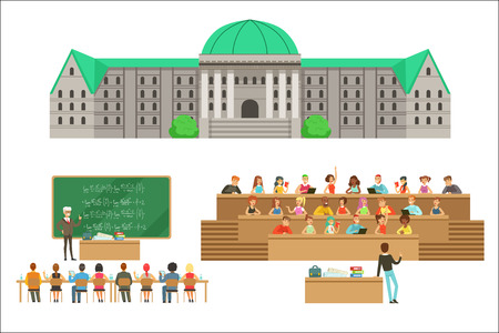 University Education, Students And Professors Set Of Illustrations. Cartoon Characters Studying In School To Get A Degree Vector Simple Drawings. Illustration