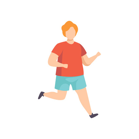 Young fat man running, obesity man wearing sports uniform doing fitness exercise, weight loss program concept vector Illustration isolated on a white background. Illustration