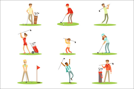 People Playing Golf On Grass, Striking The Ball With Club Set Of Smiling Characters Enjoying Gulf Game Outside In Summer. Amateur Golf Players On The Field Cartoon Illustrations With Happy Men And Women. Иллюстрация