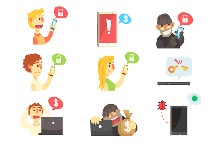 Internet Security And Computer Protection Against Criminal Hackers Stealing Passwords And Money Series Of Info Illustrations. Antivirus And Web Protection Cool Cartoon Style Infographic Vector Drawings.