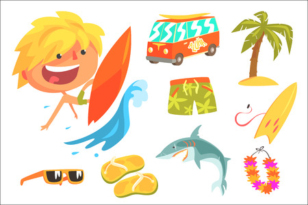 Boy Surfer Extreme Sportsman, Kids Future Dream Professional Occupation Illustration With Related To Profession Objects. Smiling Child Carton Character With Career Attributes Around Cute Vector Drawin