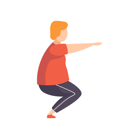 Young fat man doing squats, obesity man wearing sports uniform doing fitness exercise, weight loss program concept vector Illustration isolated on a white background.