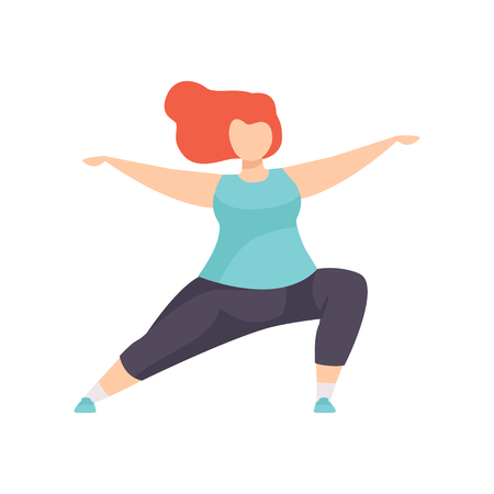 Girl standing in Hero yoga position, obesity woman wearing sports uniform doing fitness exercise, weight loss program concept vector Illustration on a white background