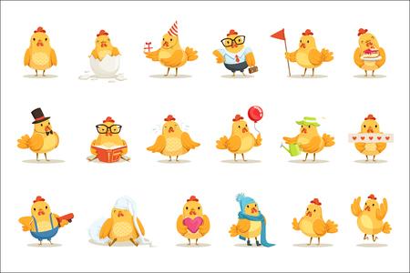 Pollo giallo pulcino diverse emozioni e situazioni insieme di illustrazioni di Emoji carino. Autoadesivi di vettore del fumetto di attività dell'uccellino di fattoria umanizzata.