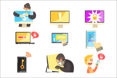 Internet Security And Computer Protection Against Criminal Hackers Stealing Passwords And Money Set Of Info Illustrations. Antivirus And Web Protection Cool Cartoon Style Infographic Vector Drawings.