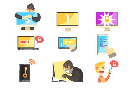 Internetsicherheit und Computerschutz gegen kriminelle Hacker, die Passwörter und Geld stehlen Satz von Info-Illustrationen. Antivirus und Web-Schutz Coole Cartoon-Stil Infografik Vektor-Zeichnungen.