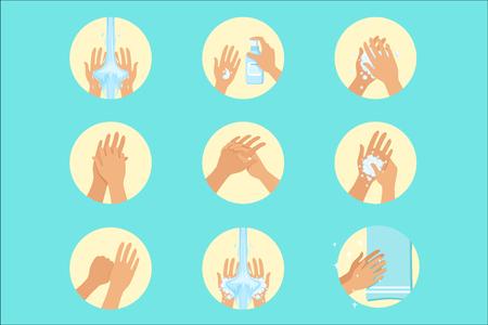 손 씻기 순서 지시, 적절한 손 씻기 절차를 위한 인포그래픽 위생 포스터. 정보 그림 위생적인 방법으로 손바닥을 청소하는 방법 벡터 아이콘 시리즈.