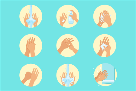 Hands Washing Sequence Instruction, Infographic Hygiene Poster For Proper Hand Wash Procedures. Info Illustration How To Clean Palms In Hygienic Way Series Of Vector Icons. Vettoriali