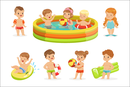 Small Children Having Fun In Water Of The Pool With Floats And Inflatable Toys In Colorful Swimsuit Collection Of Happy Cute Cartoon Characters. Children Playing In And Swimming In Fresh Water Enjoyin
