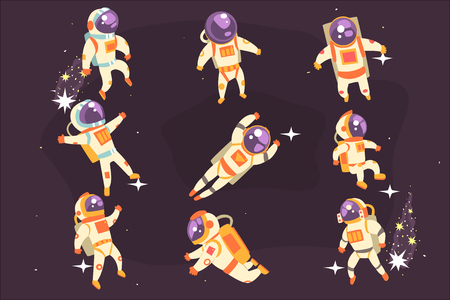Astronaut Space Suit Floating In Open Space Different Positions Set Of Illustrations, Spaceman Flying In Pressure Suit And Helmet With Dark Sky On Background.