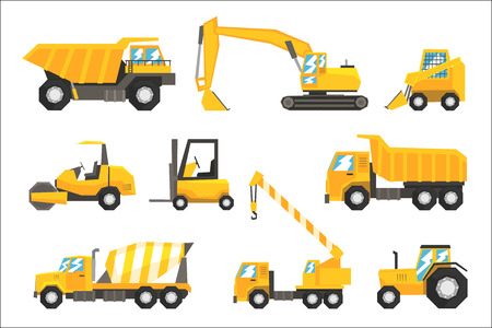 Yellow Construction Cars And Machinery Set Of Colorful Vehicles In Realistic Design Illustrations. Building Site And Road Machines On Wheels Bright Color Vector Drawings. Banque d'images - 107089743