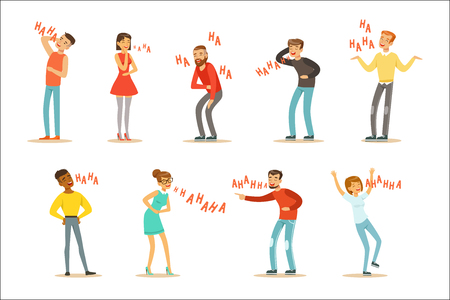 Adults Hysterically Laughing Out Loud Set Of Cartoon Characters With Laughter And Giggle Spelled In Text. Vector Illustrations With People Smiling And Having Fun With Hahaha Text. Ilustracja