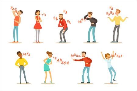 Volwassenen hysterisch lachen hardop Set stripfiguren met gelach en giechelen gespeld in tekst. Vectorillustraties met mensen die glimlachen en plezier hebben met Hahaha-tekst.