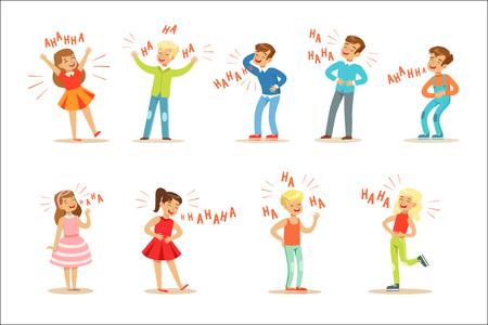 Kinderen hysterisch lachen hardop Set stripfiguren met gelach en giechelen gespeld in tekst. Vectorillustraties met mensen die glimlachen en plezier hebben met Hahaha-tekst. Vector Illustratie