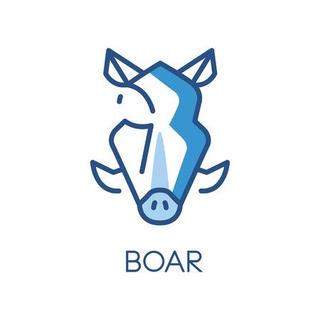 Boar design, blue label, badge or emblem with head of hog animal vector Illustration on a white background
