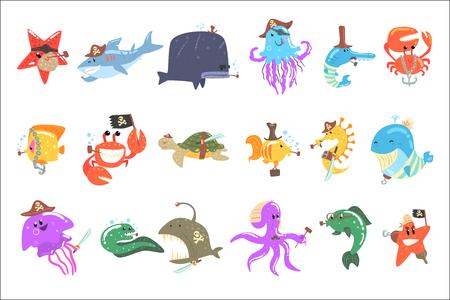 Animaux marins et faune sous-marine avec accessoires de pirate et ensemble d'attributs de personnages de dessins animés comiques. Illustrations vectorielles amusantes avec la vie aquatique avec des éléments de vêtements humains.