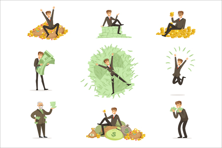 Very Rich Man Bathing In His Money, Happy Millionaire Magnate Male Character Series Of Illustrations. Banker And HIs Riches In Paper And Coins Life Situations.