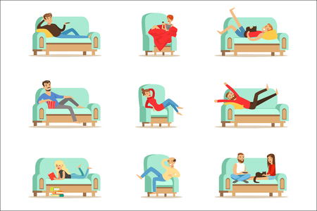 People Resting At Home Relaxing On Sofa Or Armchair Having Lazy Free Time And Rest Set Of Illustrations. Weekend Indoors With Happy Men And Women Having Good Time.