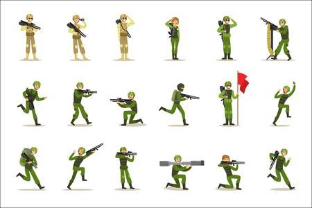 Infanteriesoldaten in voller militärischer Khaki-Uniform mit Waffen während des Kriegseinsatzes Set von Cartoon-Landstreitkräften-Zeichentrickfiguren. Vektorillustration mit Infanteristen bei ihrer Pflicht.