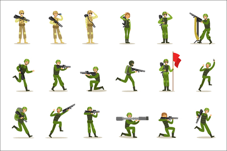 Soldados de infantería en uniforme militar caqui completo con armas durante la operación de guerra Conjunto de personajes de dibujos animados de las fuerzas terrestres de dibujos animados. Ilustración de vector con soldados de infantería en su deber.