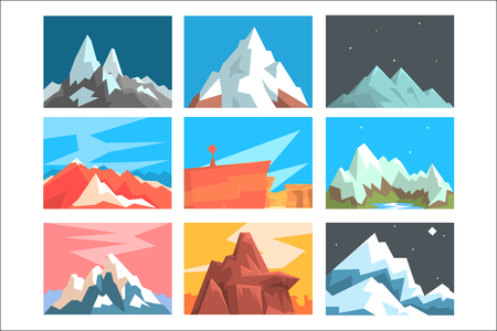 Mountain Peaks And Summits Landscape Vector Illustration Set With Mountains Of Different Geographic Zones. Geometric Cartoon Stylized Natural Rock Scenery. Illusztráció