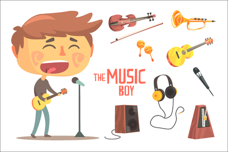 Boy Singer And Musician, Kids Future Dream Professional Occupation Illustration With Related To Profession Objects. Smiling Child Carton Character With Career Attributes Around Cute Vector Drawing.