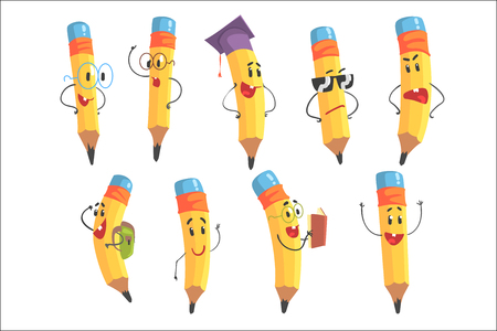 Cute Humanized Pencil Character With Arms And Face Emoji Illustrations Set. Funny Emoticon Illustrations With School Drawing Tool . 矢量图像