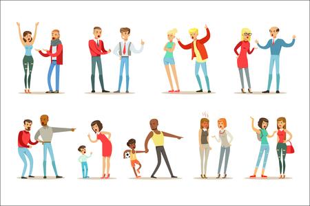 Menschen kämpfen und streiten, die eine laute öffentliche Skandalsammlung von Comicfiguren mit aggressivem und gewalttätigem Verhalten Illustrationen machen. Zwei-Personen-Gezänk und Kampf-Reihe von Aggression und negativen Emotionen-Zeichnungen.